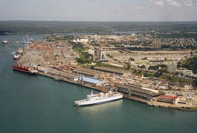 Aerial view of the port
